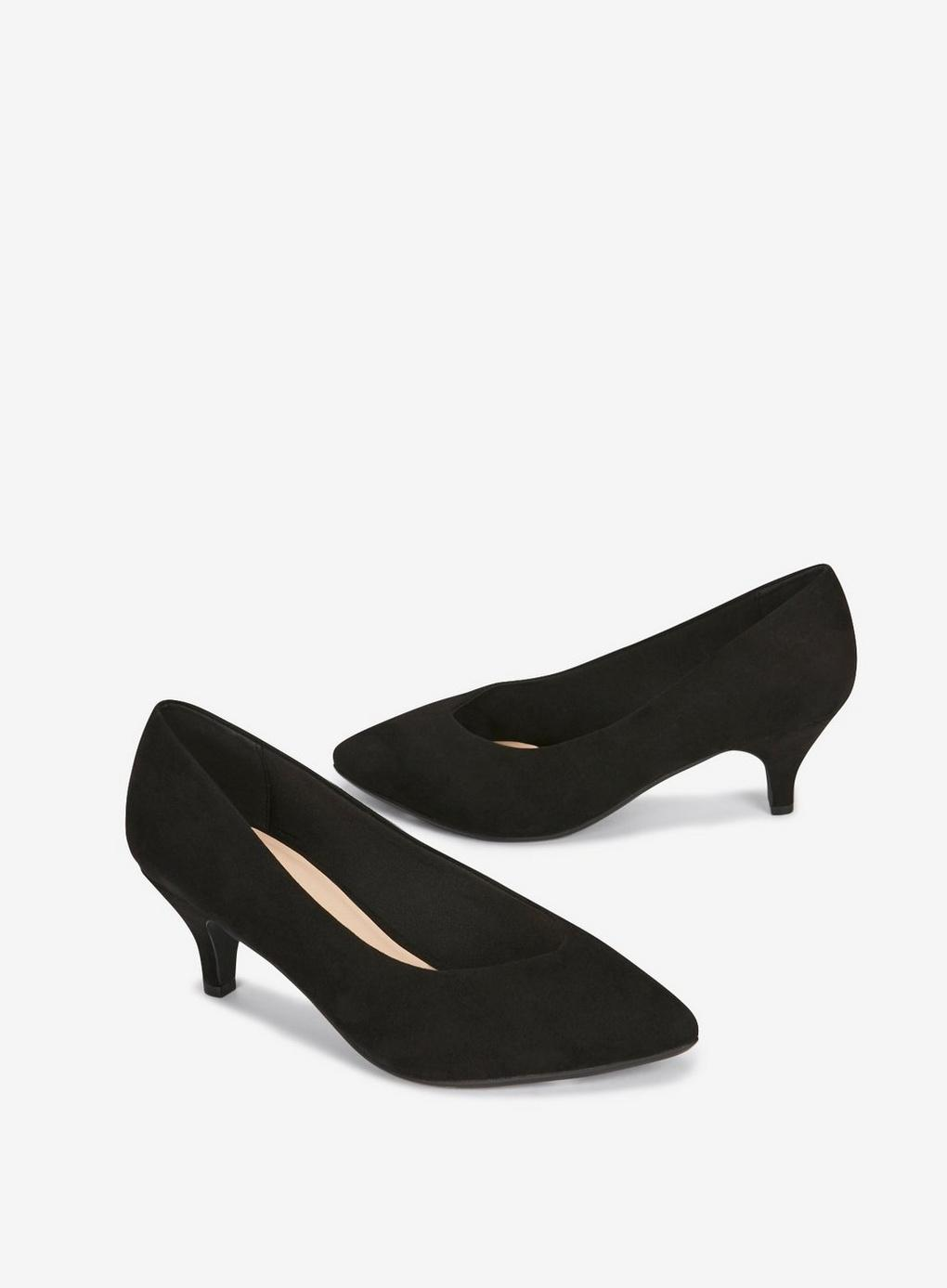 90d5a6d42b0 Evans - Wide Fit Black Kitten Court Shoes - Lyst. View fullscreen