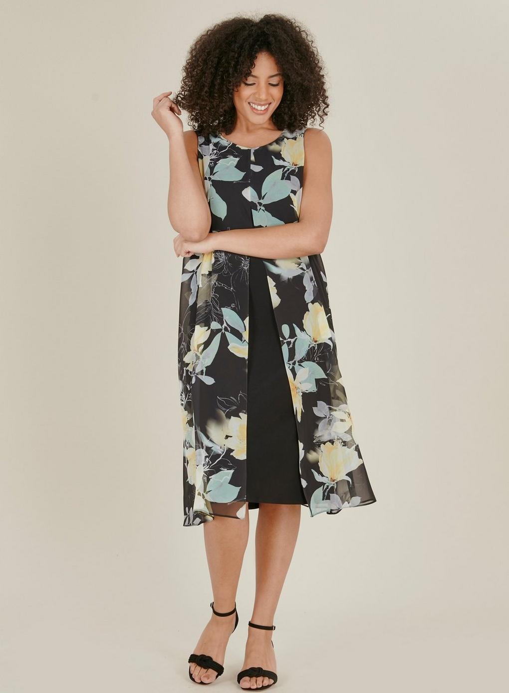 7b20c2827863 Evans Black Floral Print Split Front Shift Dress in Black - Save 25 ...