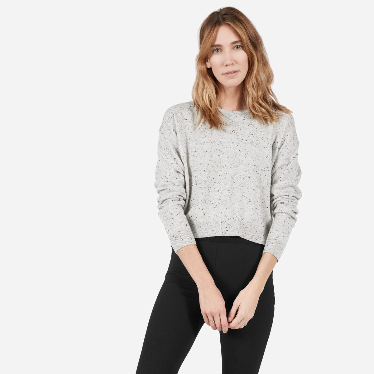Everlane The Cashmere Cropped Crew in Gray | Lyst