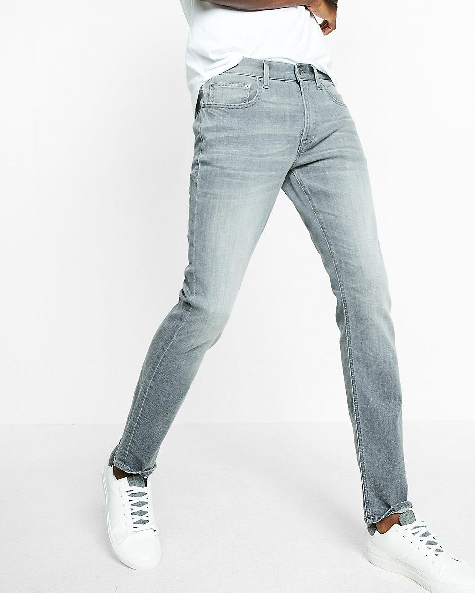 Express Slim Fit Slim Leg Gray Performance Stretch Jeans in Gray ...