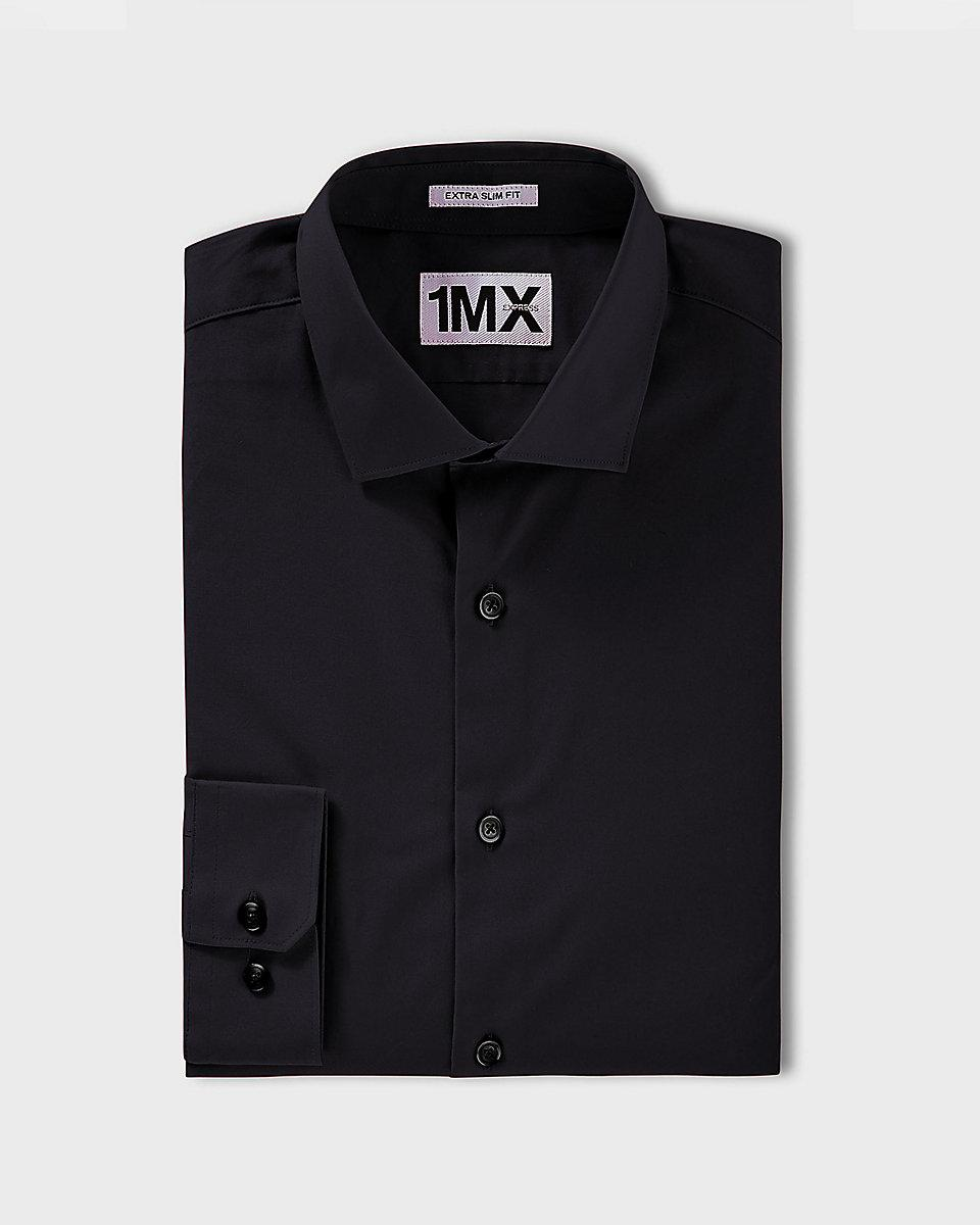 express slim fit spread collar 1mx dress shirt in black
