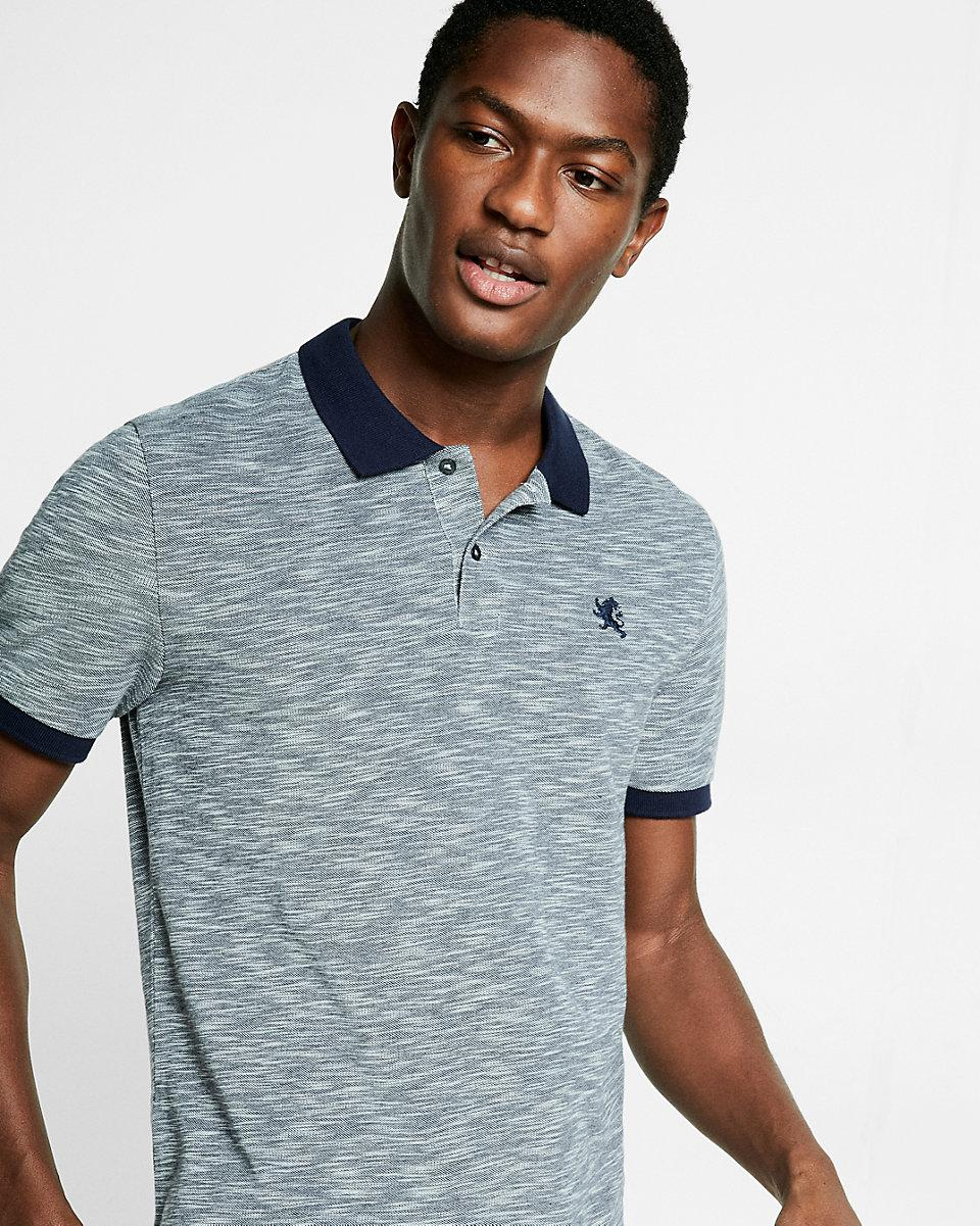 Lyst Express Textured Small Lion Pique Polo In Blue For Men