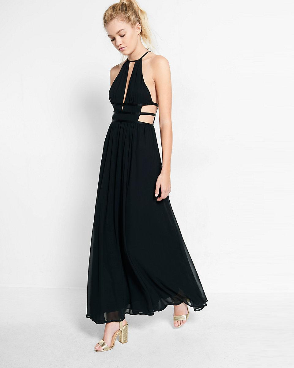28dc4288ed Lyst - Express Strappy Cut-out Plunge Maxi Dress in Black