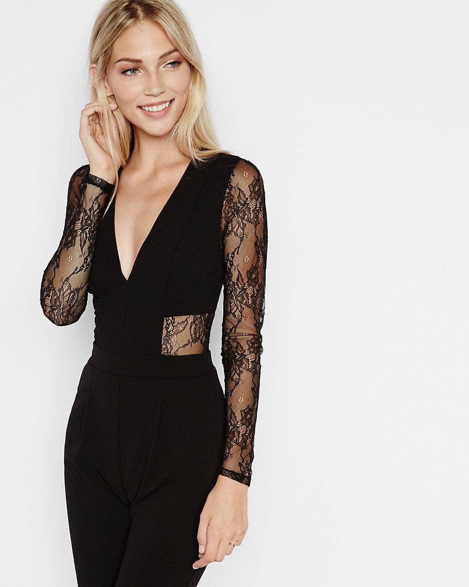 66178df505ec Express Black Lace Back And Sleeve Jumpsuit in Black - Lyst