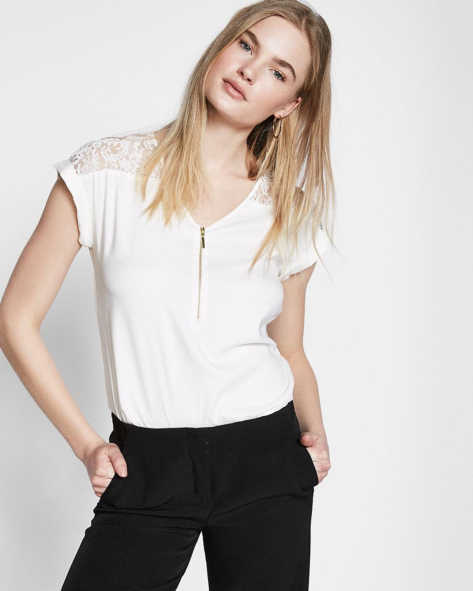 Zip Front White Blouse 36