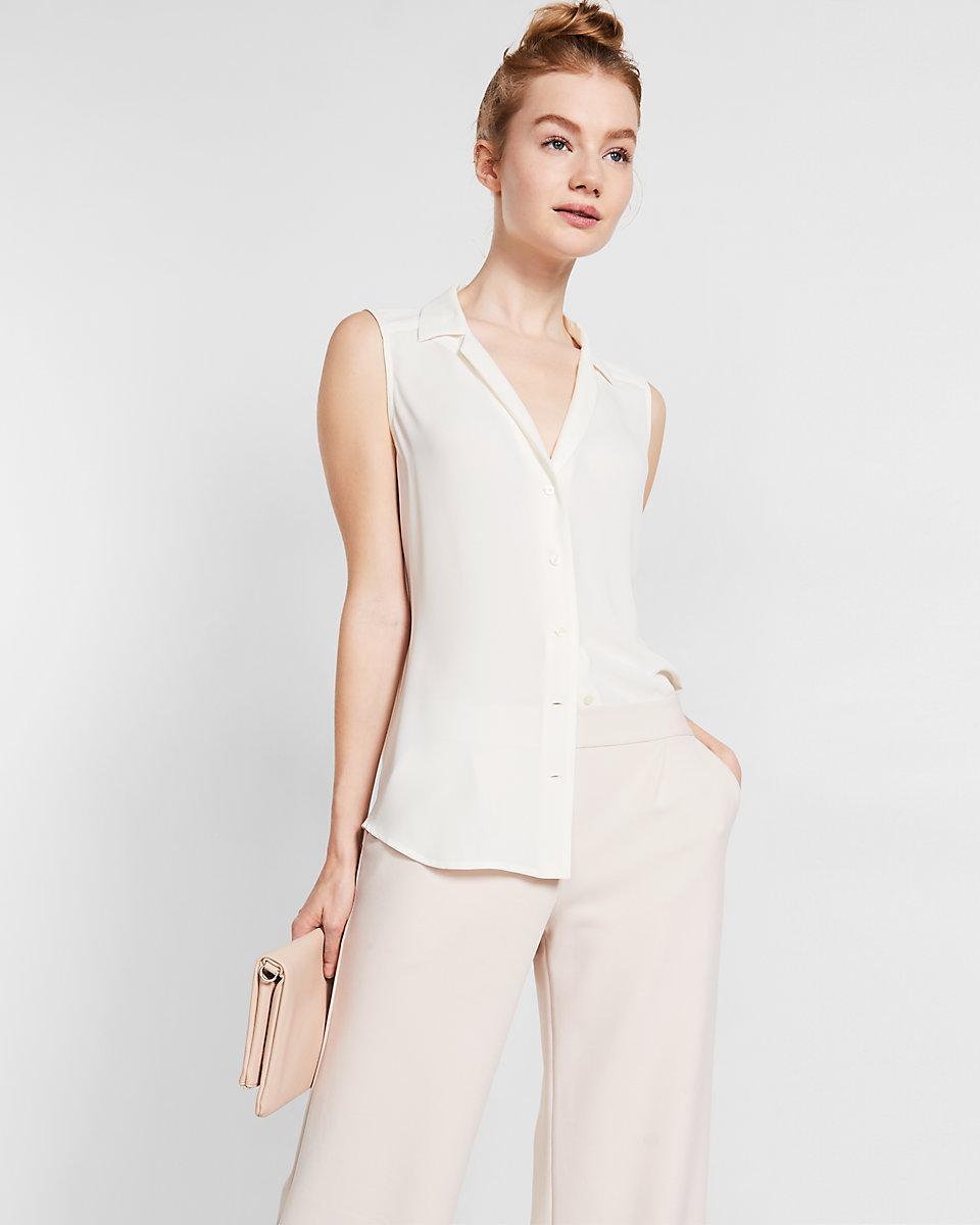 Express sleeveless pajama collar shirt in white lyst for Sleeveless white shirt with collar