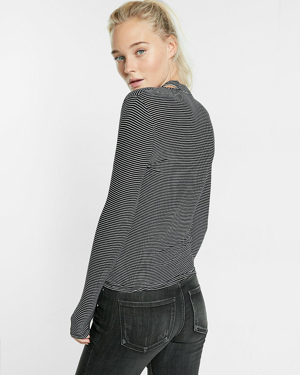 Lyst express striped ribbed tie neck tee in gray for Express shirt and tie