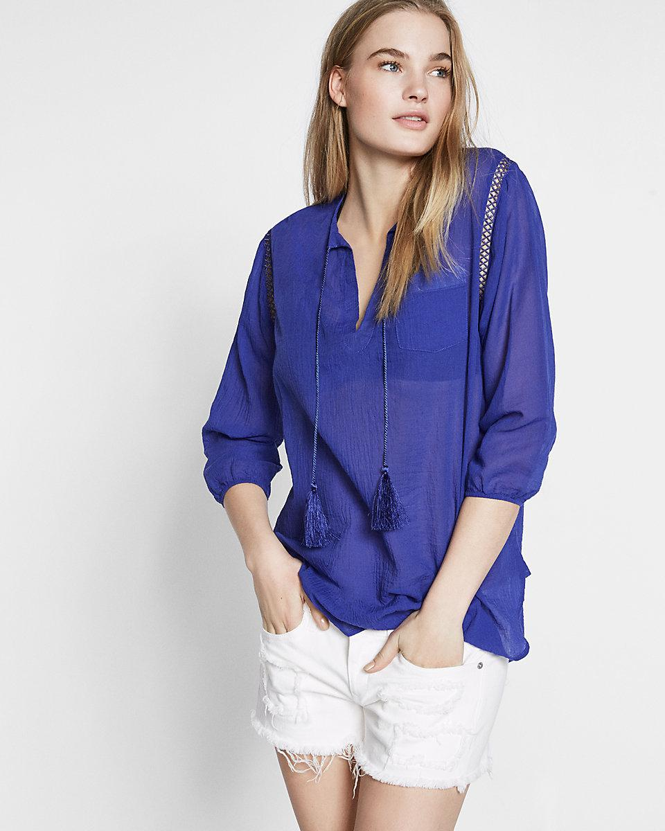 Lyst - Express Lace-up Tassel Beach Cover-up in Blue