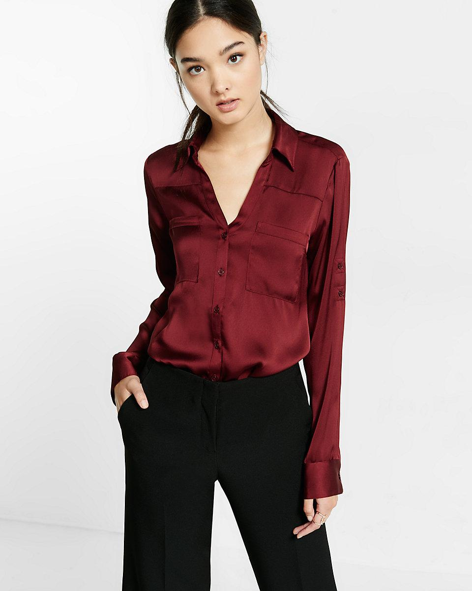 4e782cf3 Express Slim Fit Convertible Sleeve Portofino Shirt in Red - Lyst