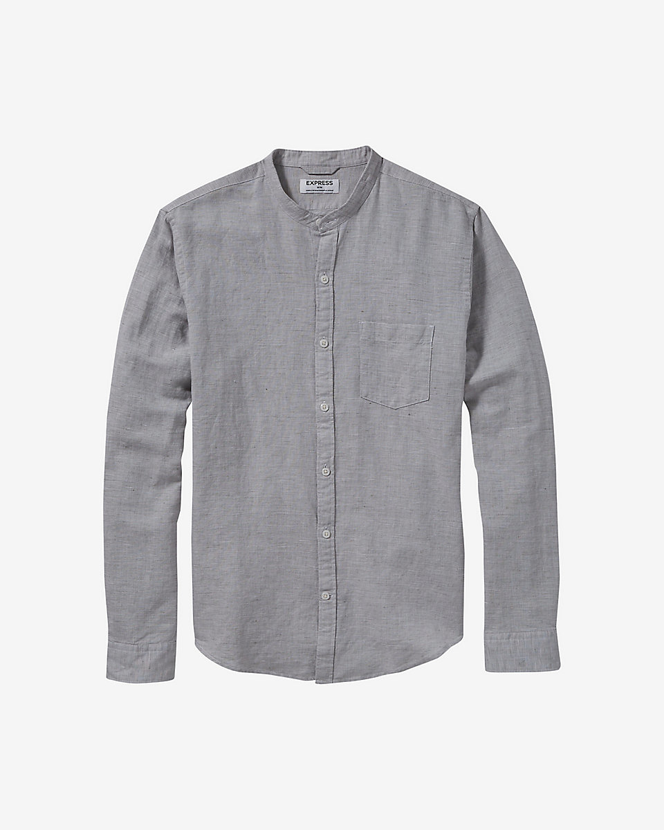 Express Band Collar Linen Cotton Shirt In Gray For Men Lyst