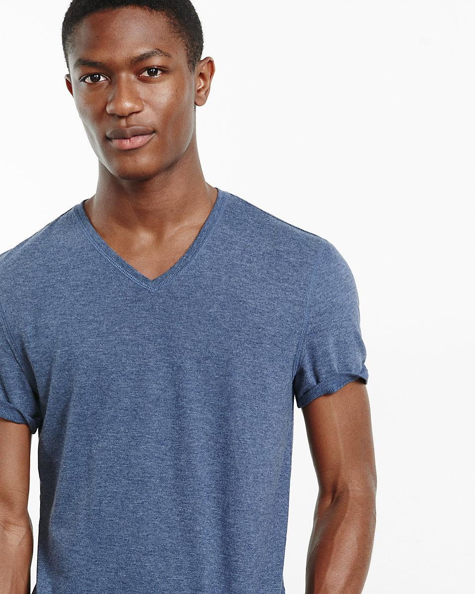 Lyst express soft wash v neck t shirt in blue for men for Express wash roma