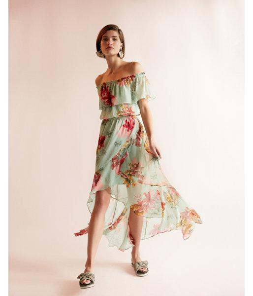 Express Floral Ruffle Off The Shoulder Maxi Dress In Green