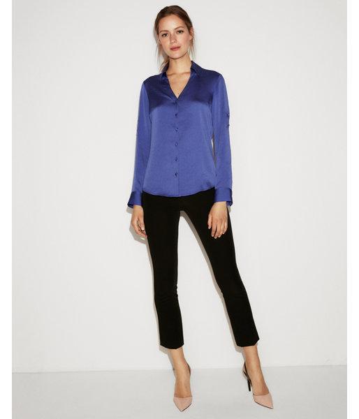 f5a51be4ca1c3 Lyst - Express Petite Slim Fit Satin No Pocket Portofino Shirt in Blue