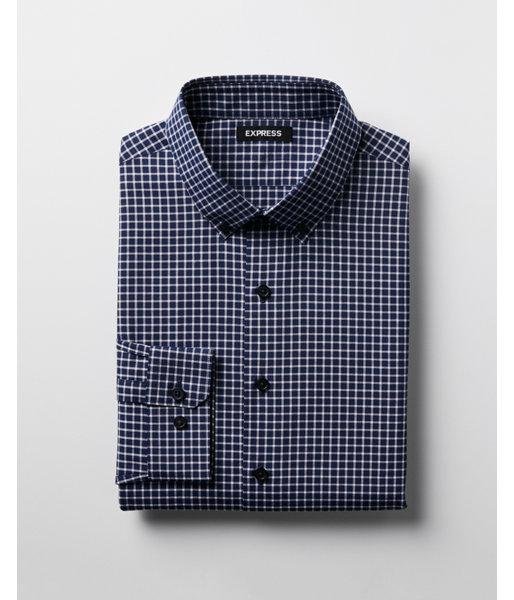 Lyst express extra slim check dress shirt in blue for men for Extra slim dress shirt