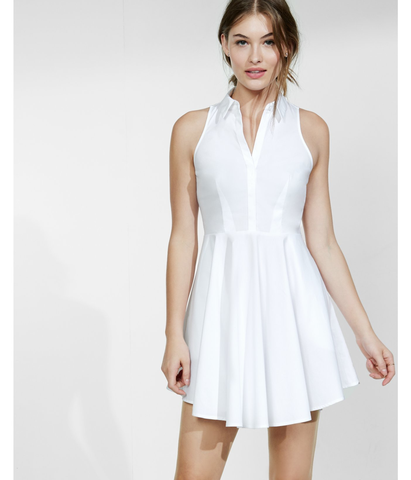 Express white sleeveless fit and flare shirt dress in for Fitted white dress shirt womens