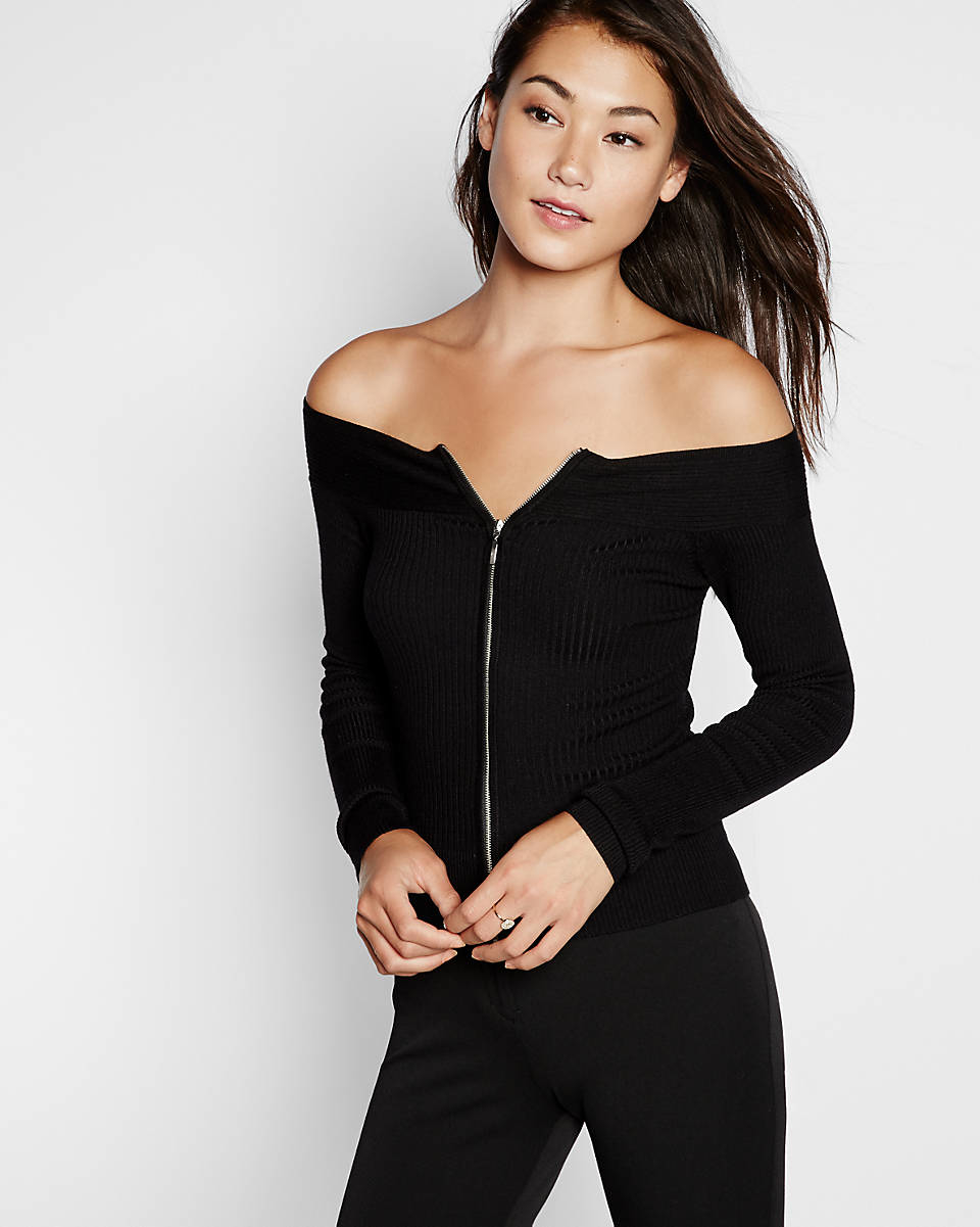 Express Ribbed 2 Ways To Wear Off The Shoulder Sweater in ...