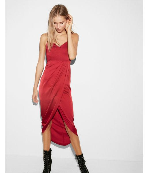 Express Satin Wrap Maxi Dress In Red Lyst