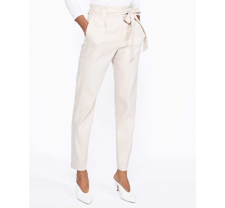 d0229603bec7ff Express. Women's High Waisted Linen-blend Paperbag Ankle Pant Neutral