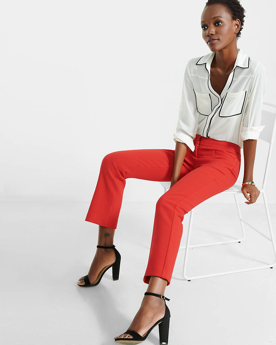 Express Mid Rise Cropped Kick Flare Pants In Pink Lyst