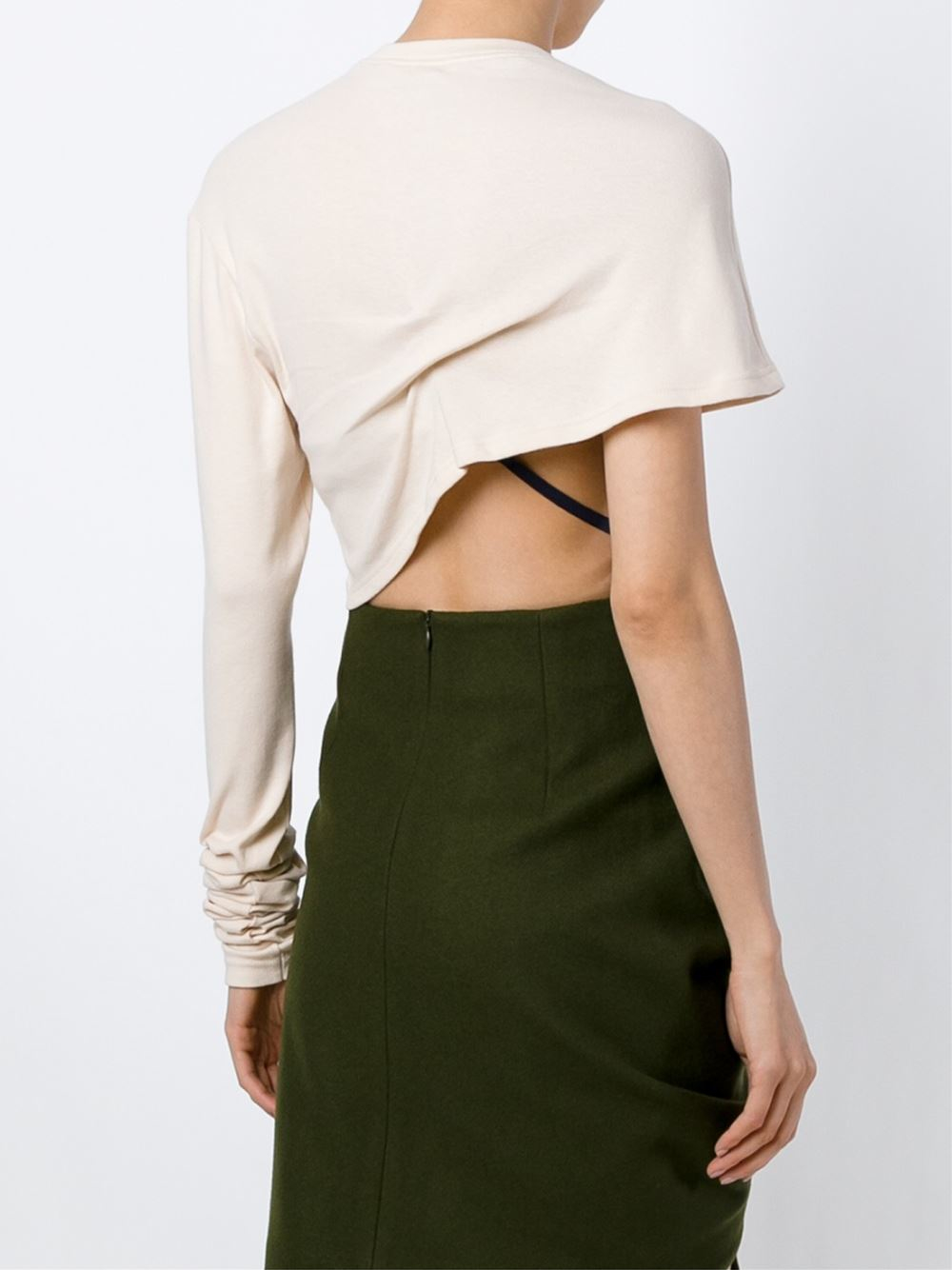 Jacquemus Asymmetric Cropped Sweater in Natural | Lyst