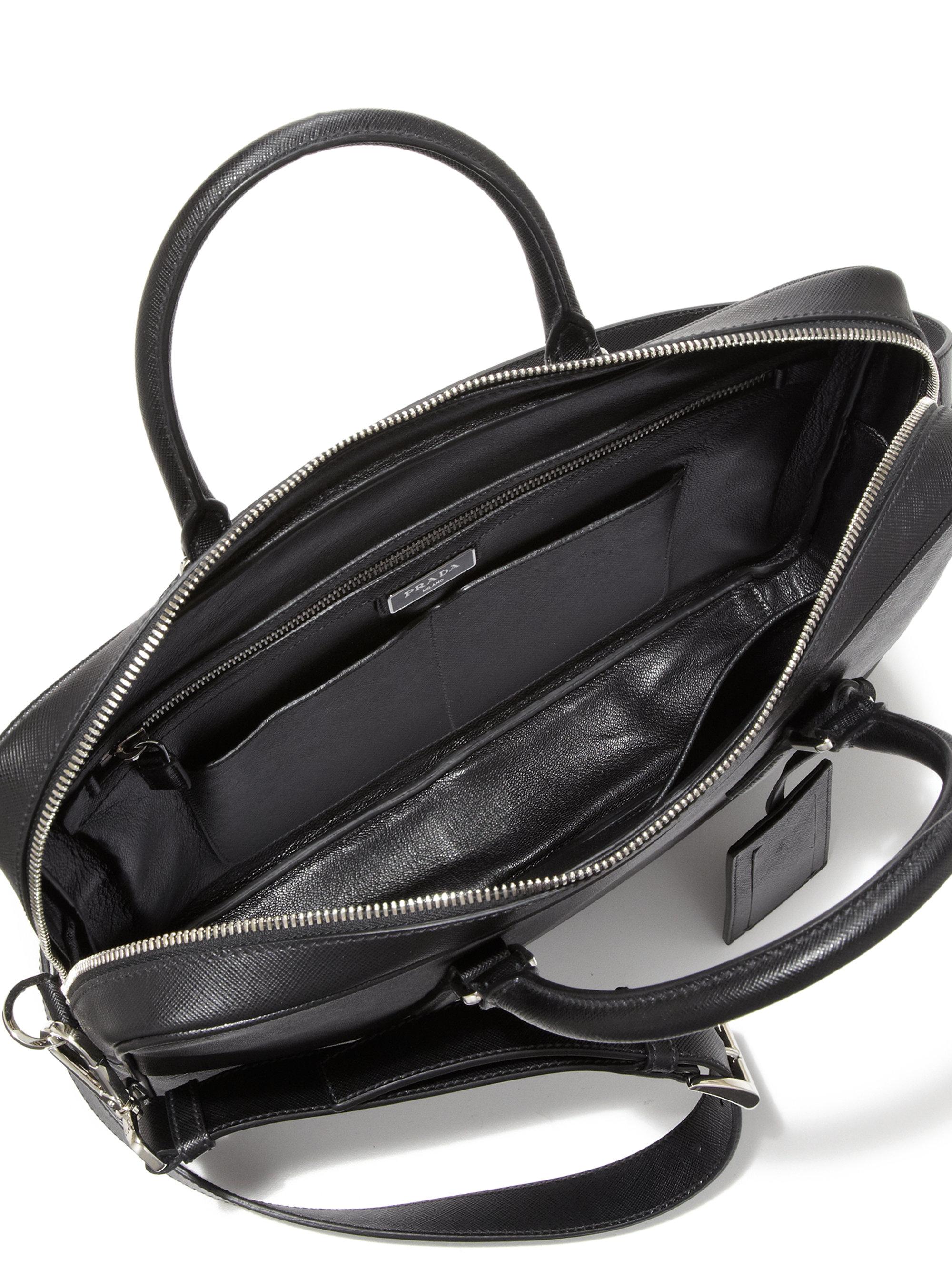 Prada Borsa Da Lavoro Leather Briefcase in Black for Men   Lyst