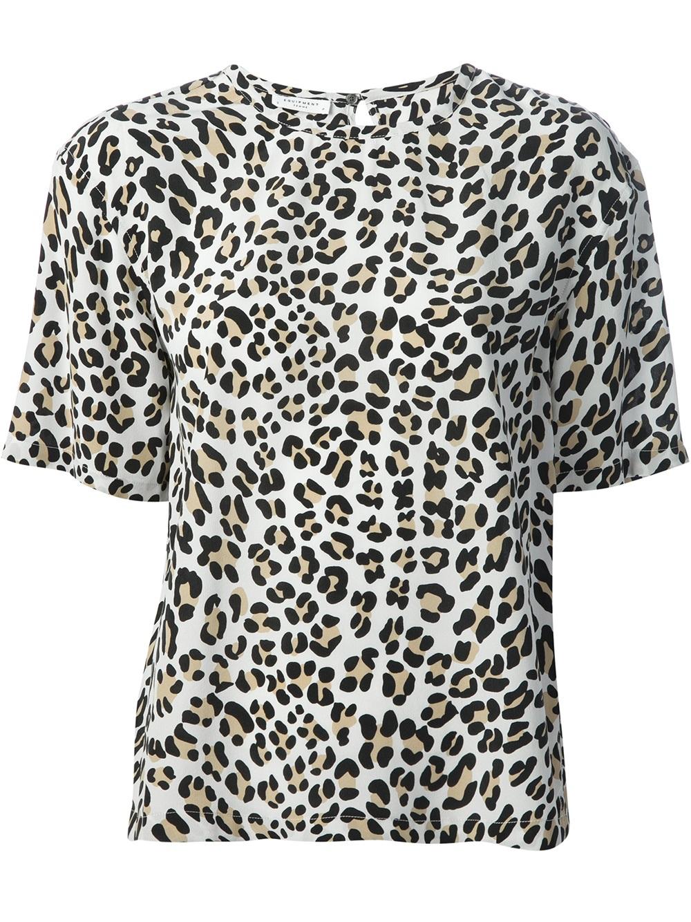 Equipment Logan Leopard Print Tshirt in Black
