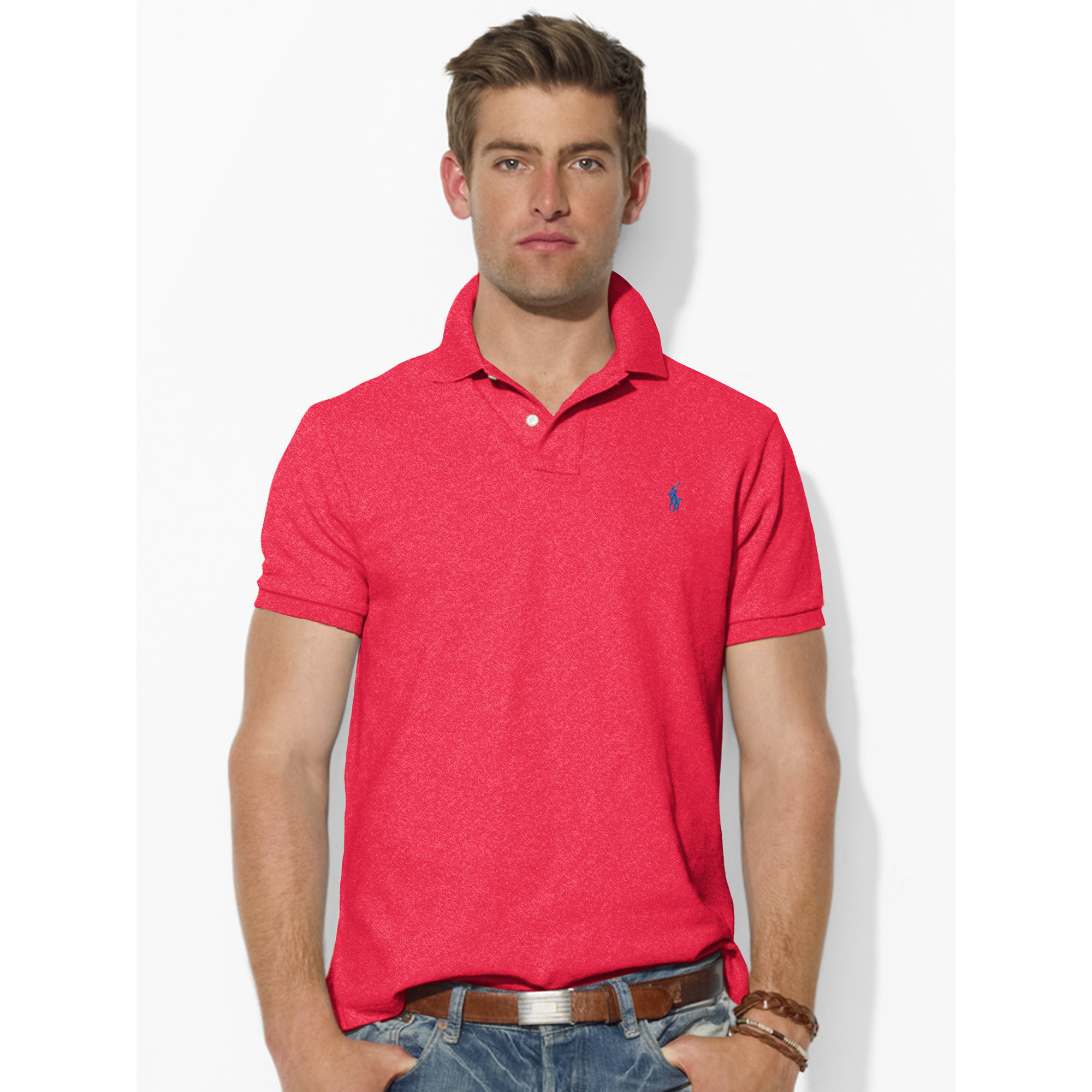 13d89835 ... free shipping lyst polo ralph lauren custom fit mesh polo in red for men  7f7cd c7357