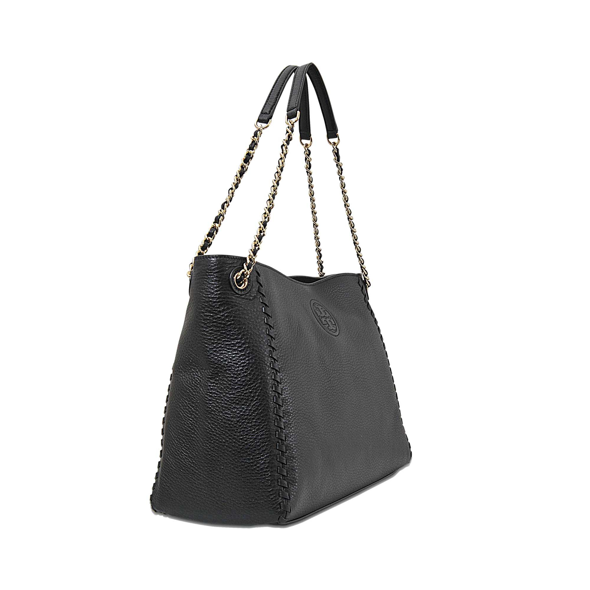 Tory Burch Marion Chain Shoulder Slouchy Tote In Black Lyst