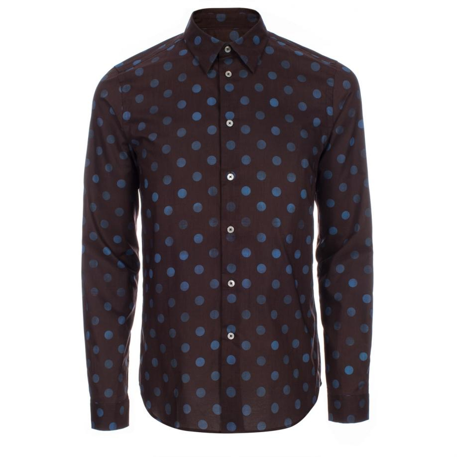 paul smith men 39 s slim fit brown polka dot print shirt in