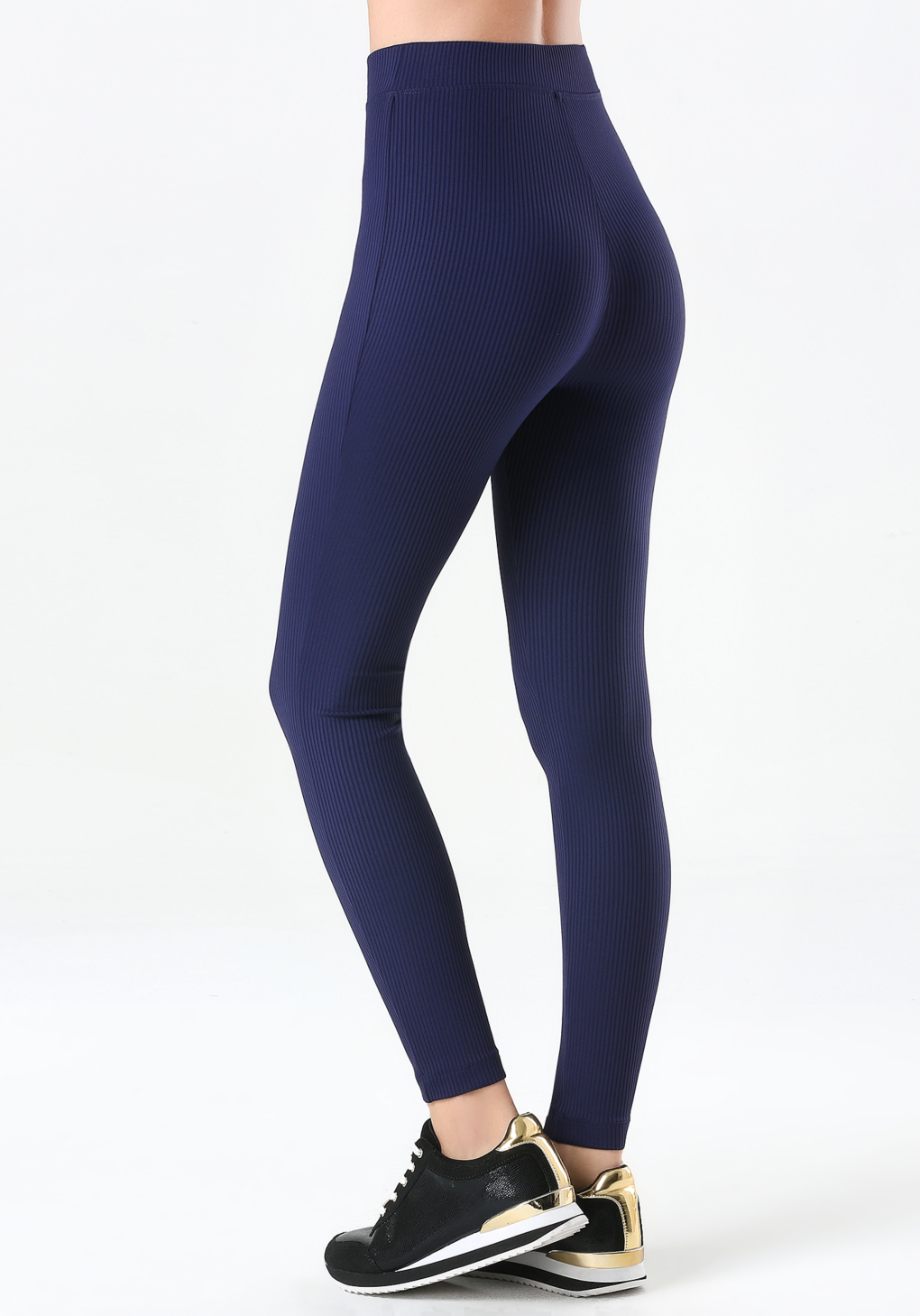 d23a41afd4acf8 Bebe Ribbed High Waist Leggings in Blue - Lyst