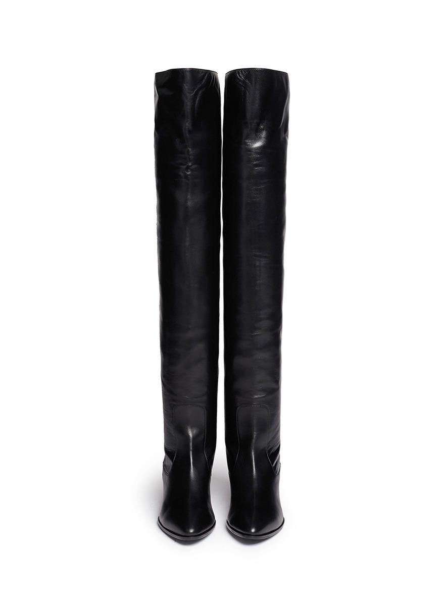 Giuseppe zanotti 'guns' Pistol Heel Leather Thigh High Boots in Black ...