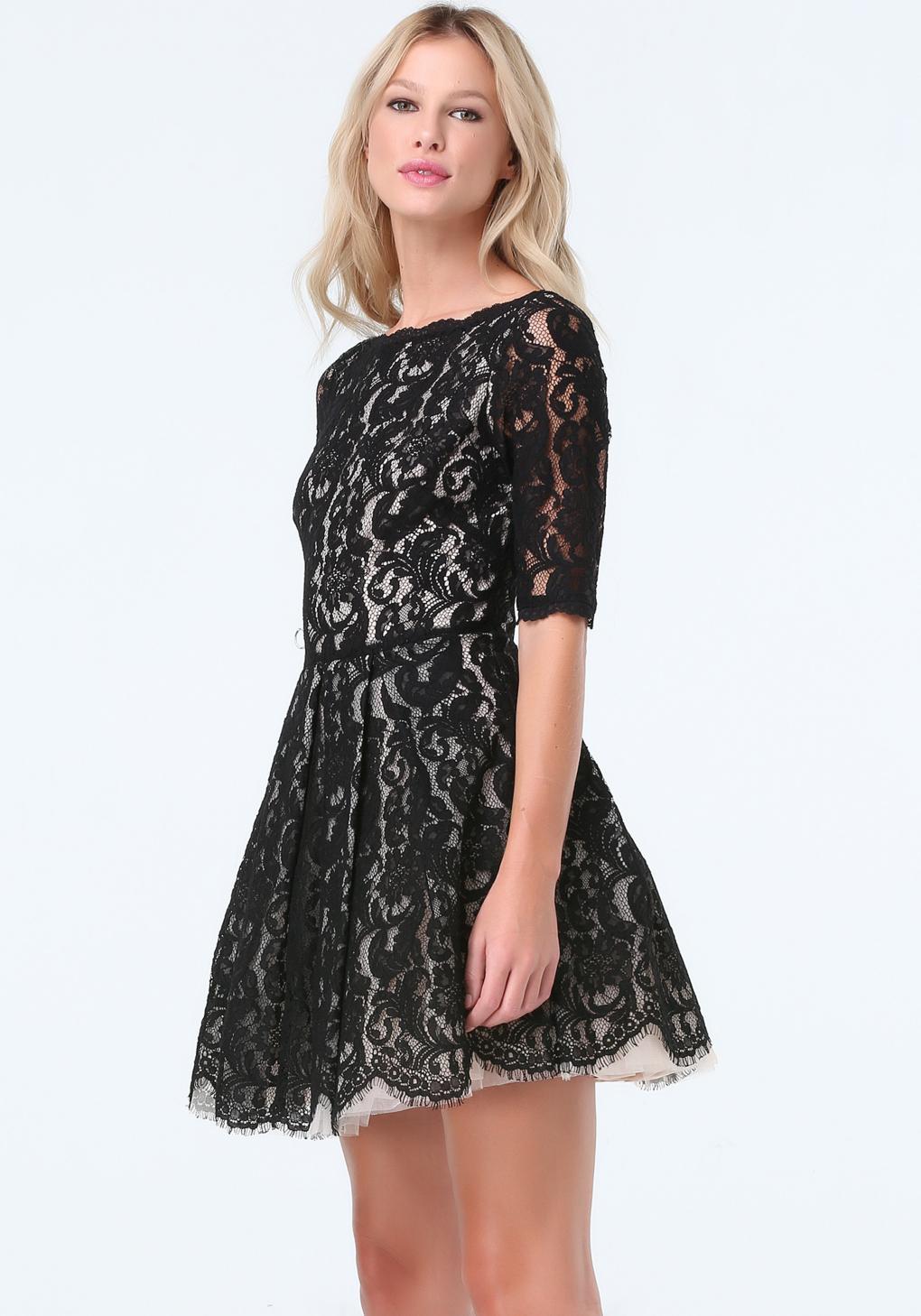 9d1b741cf82 Bebe Lace Fit   Flare Dress in Black - Lyst