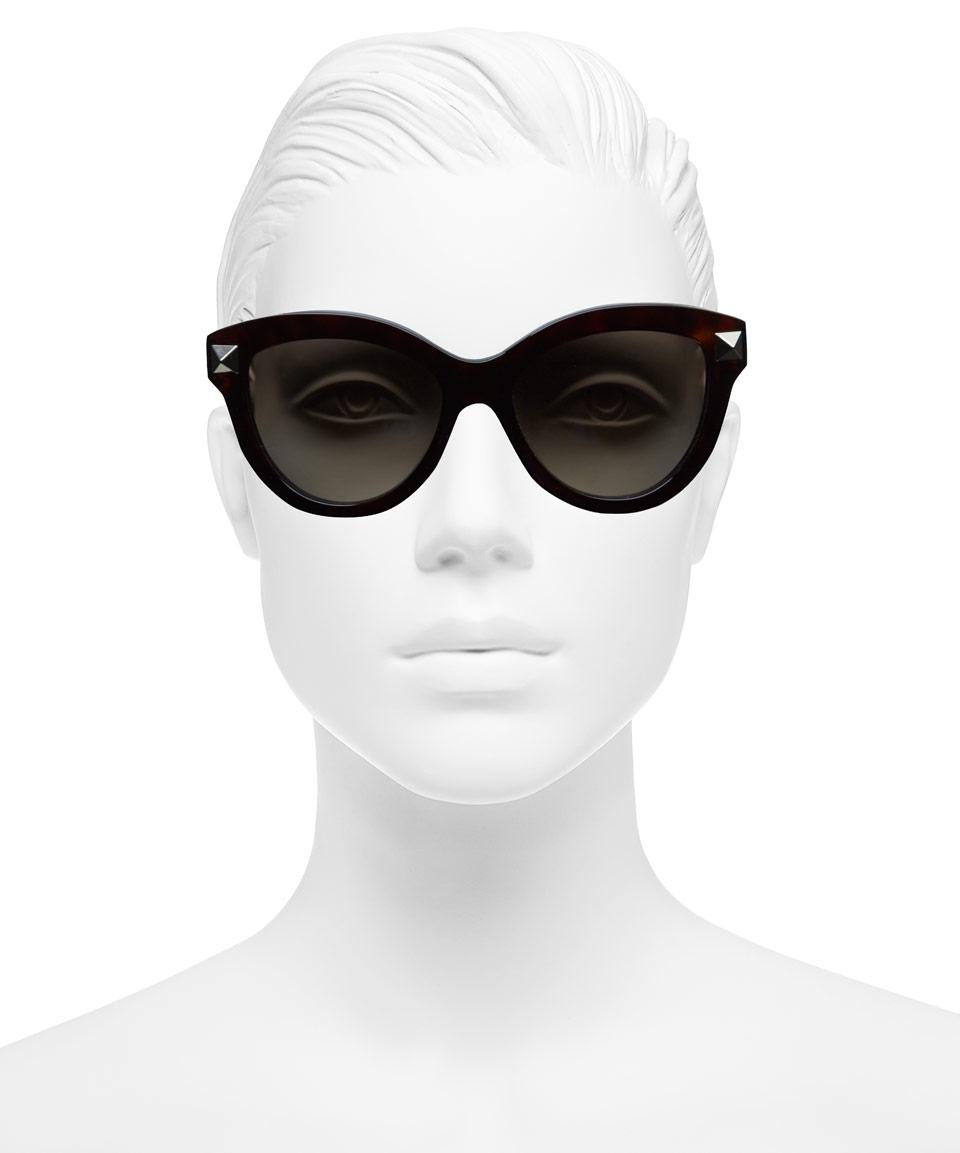 ad607f16f67 Valentino Dark Brown Stud Cat-Eye Sunglasses in Brown - Lyst