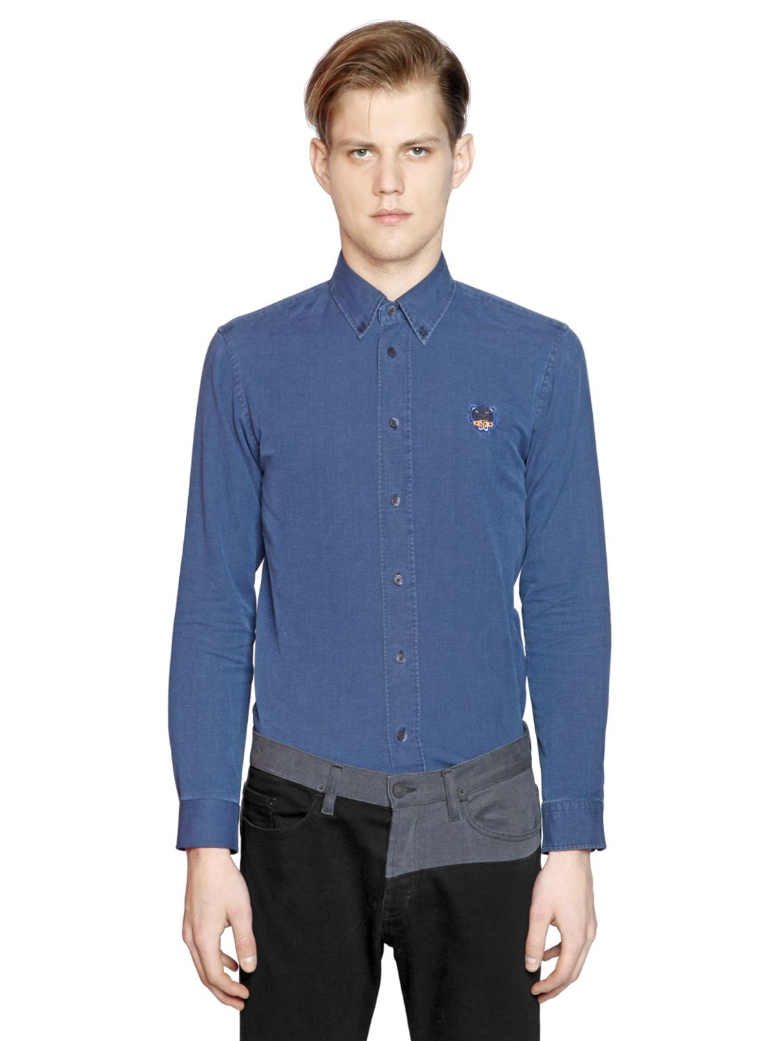 1f4ef081e9 Lyst - KENZO Tiger Embroidered Cotton Denim Shirt in Blue for Men