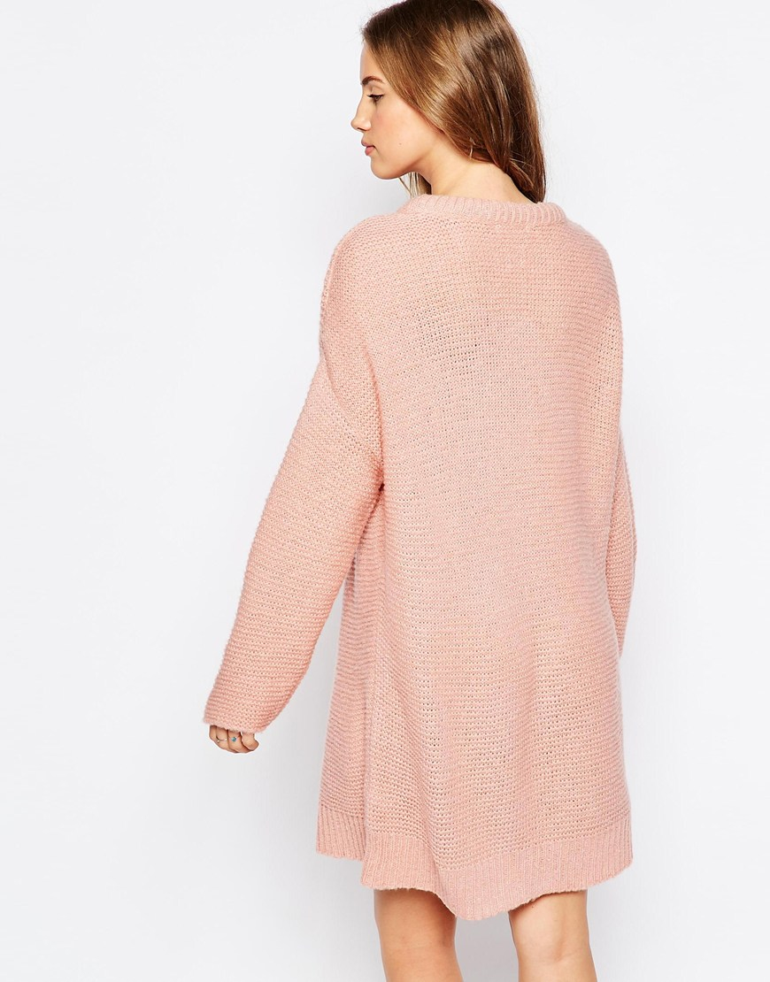 Asos Oversized Jumper Dress In Chunky Knit in Pink | Lyst