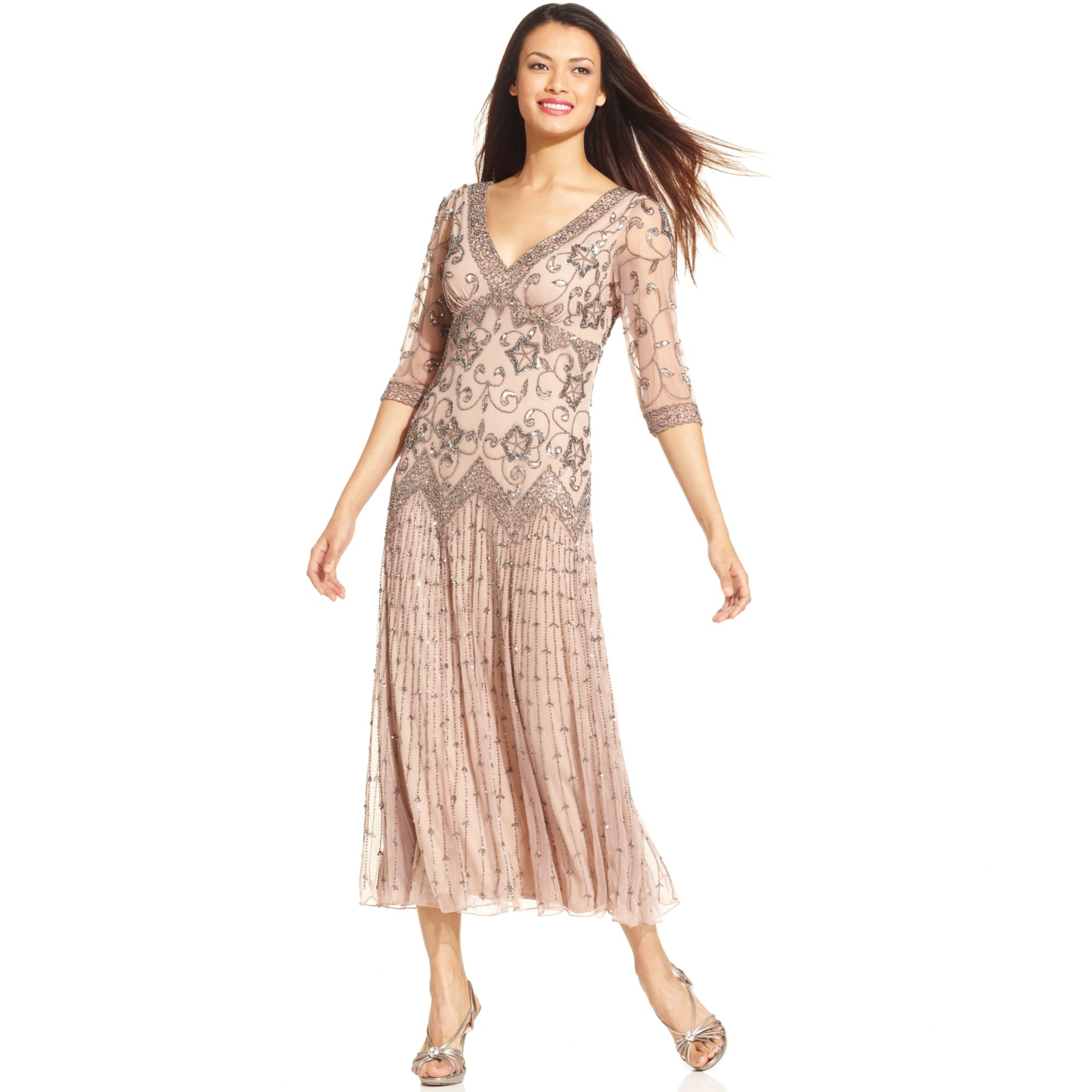 Lyst - Pisarro Nights Threequartersleeve Beaded Gown in Pink
