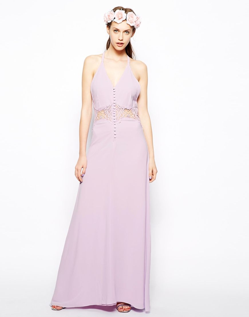 Asos jarlo maxi dress with lace inserts and button detail
