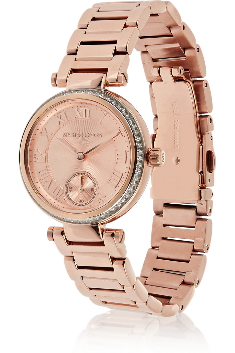 lyst michael kors skylar rose gold tone watch in pink. Black Bedroom Furniture Sets. Home Design Ideas