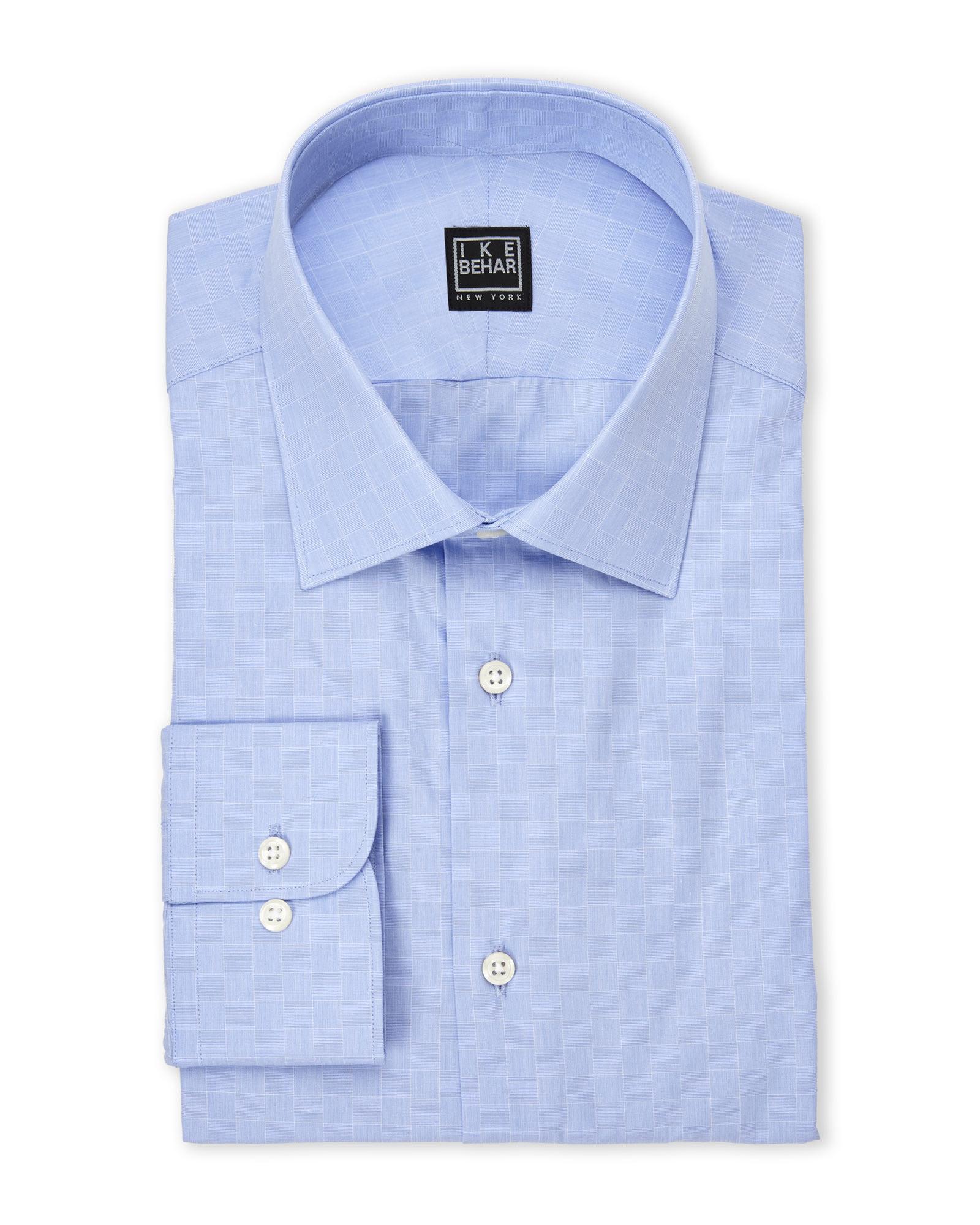 Lyst Ike Behar Blue Check Dress Shirt In Blue For Men