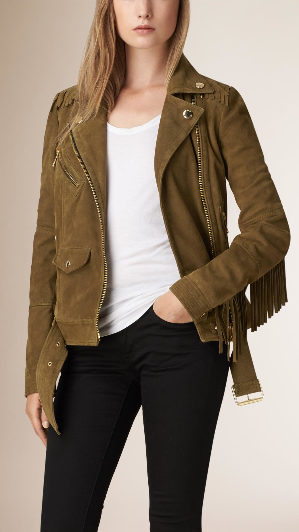 Lyst Burberry Fringed Suede Biker Jacket In Natural