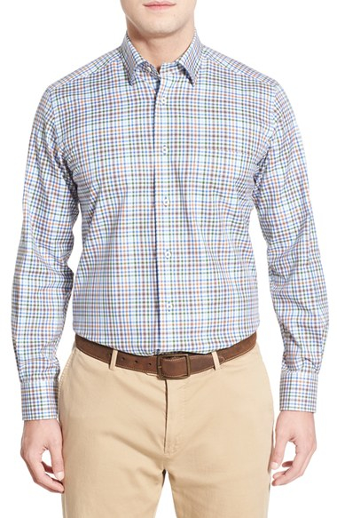 David donahue regular fit plaid sport shirt in brown for for David donahue french cuff shirts