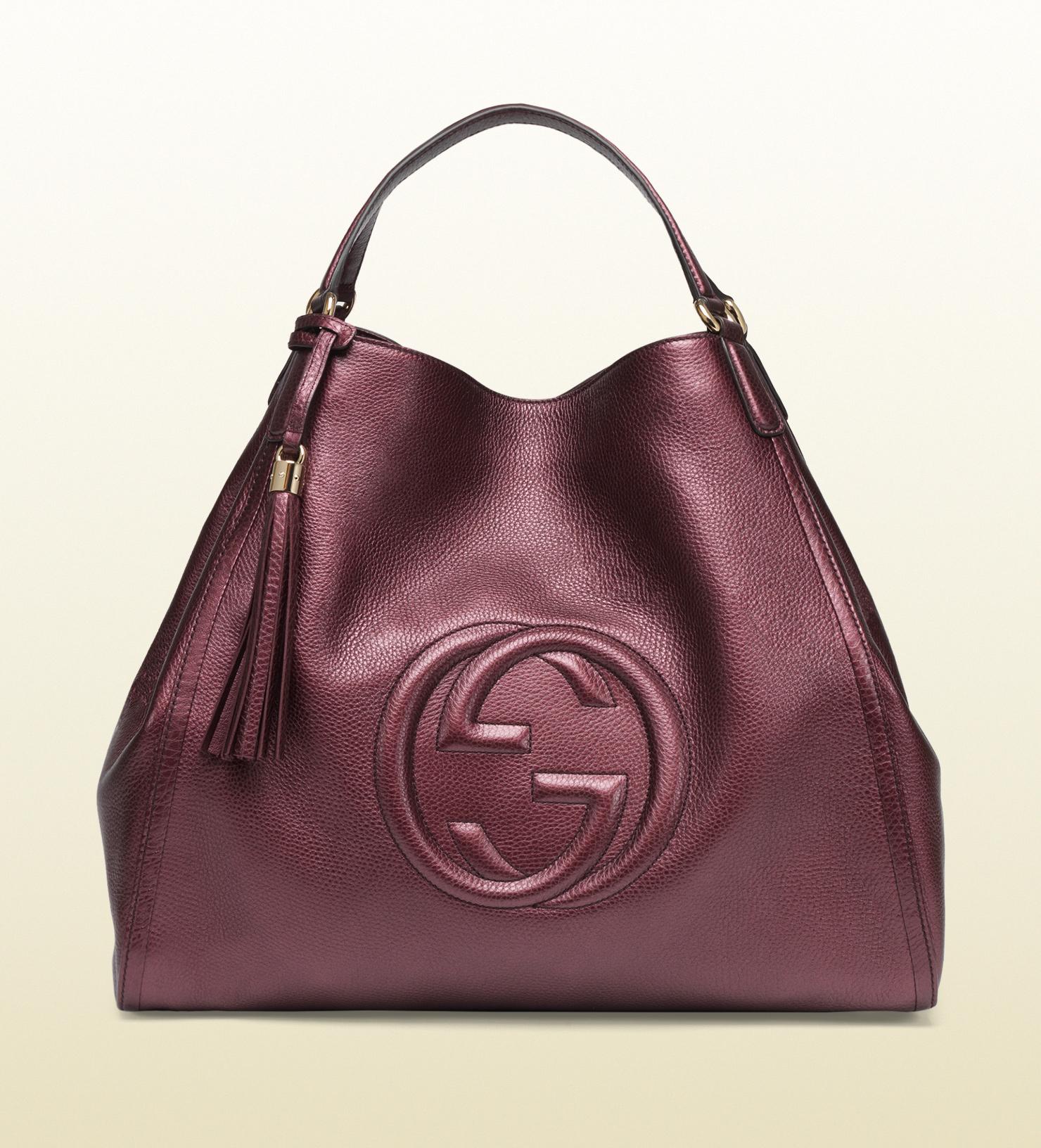 c238eb934188 Gucci Soho Metallic Leather Shoulder Bag in Purple (burgundy)   Lyst