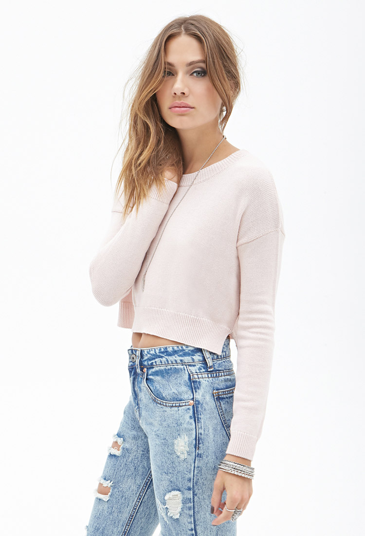 Lyst - Forever 21 Lazy Day Cropped Sweater in Pink