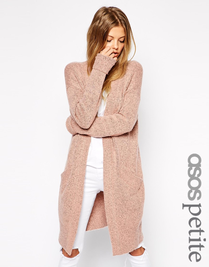 Asos Long Line Cardigan In Mohair in Pink | Lyst
