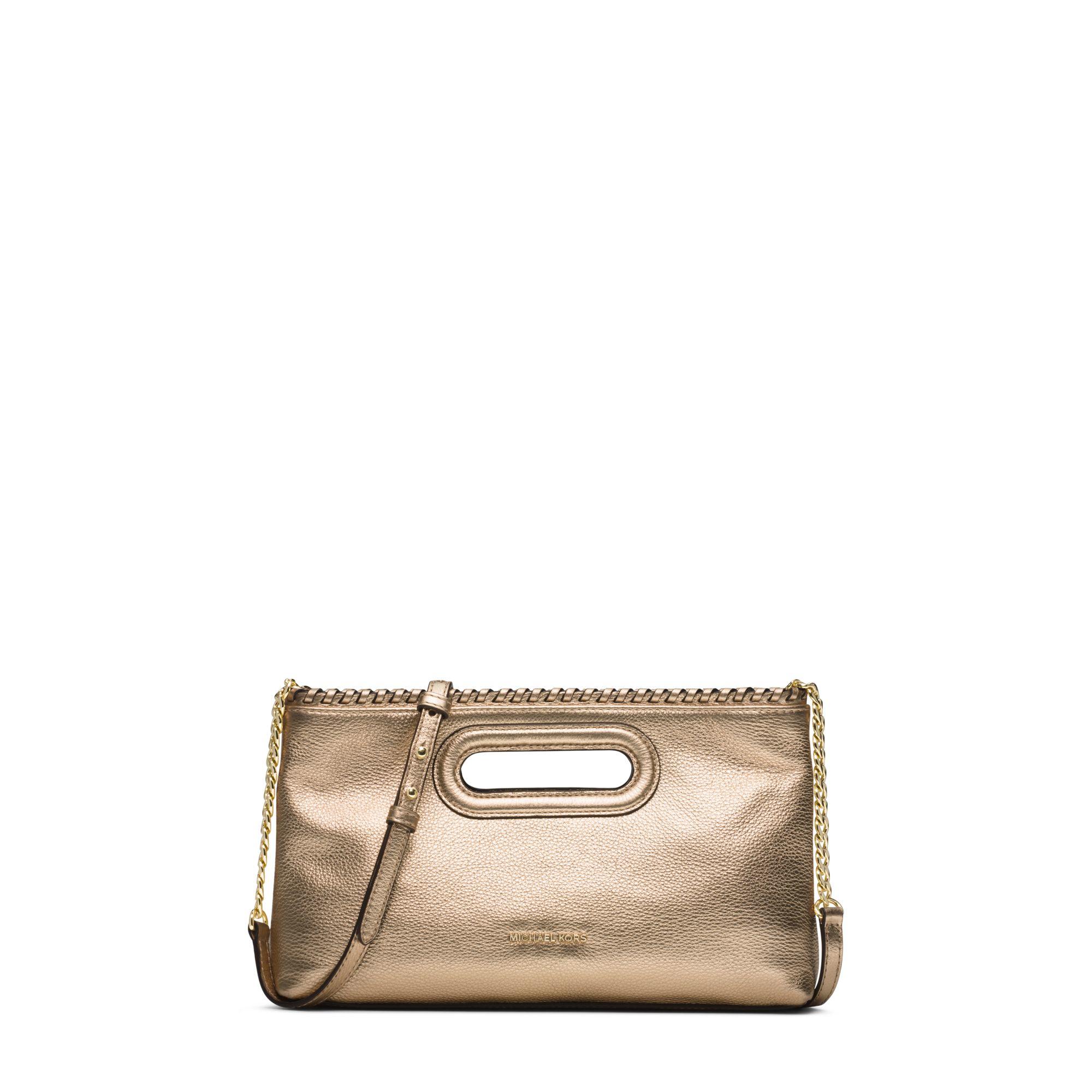 33907cba8edc3 ... GOLD MK SIG MIRROR METALLIC LEATHER CARD CASE Gallery. Womens Metallic  Clutch Bags ...