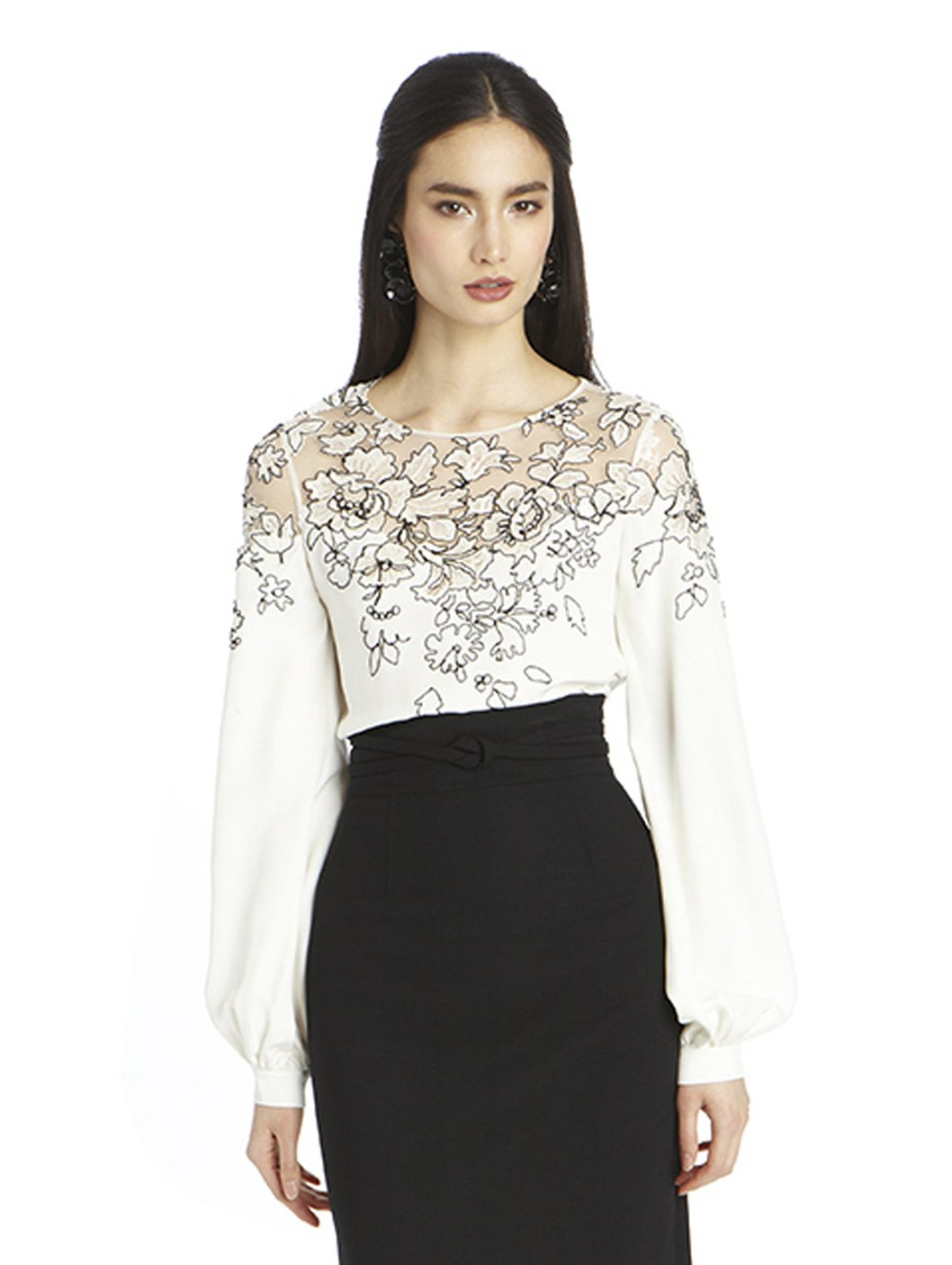 2fe212a820cd7 Lyst - Oscar de la Renta Long Sleeve Silk Lace Embroidered Blouse in ...