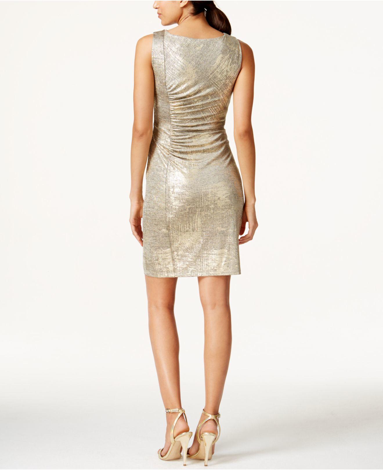 Calvin klein Ruched Metallic Sheath Dress in Metallic | Lyst