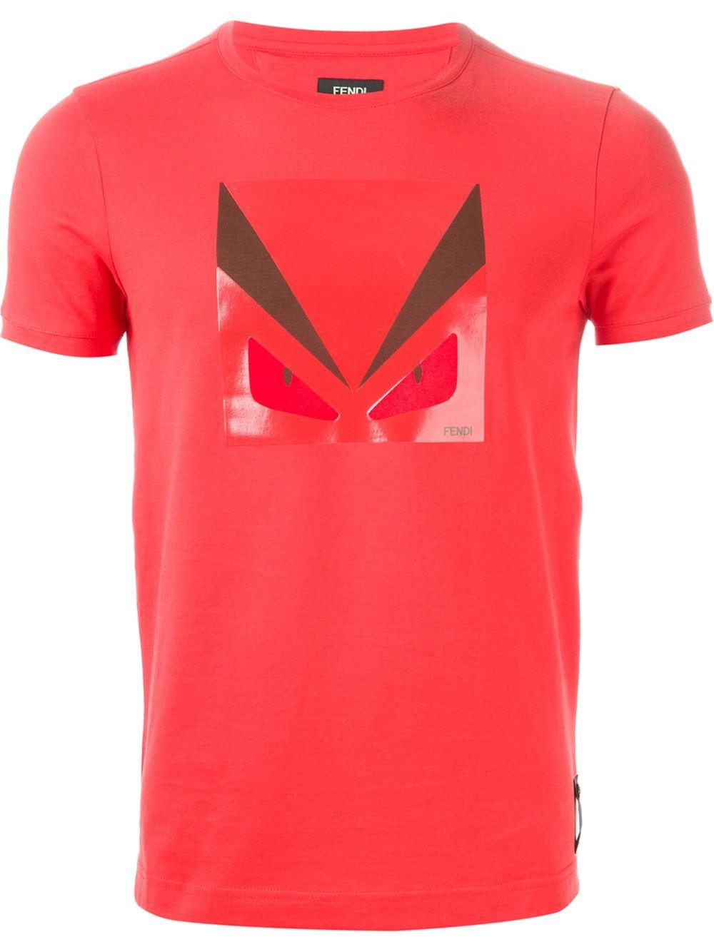 Lyst Fendi Bug Print T Shirt In Red For Men