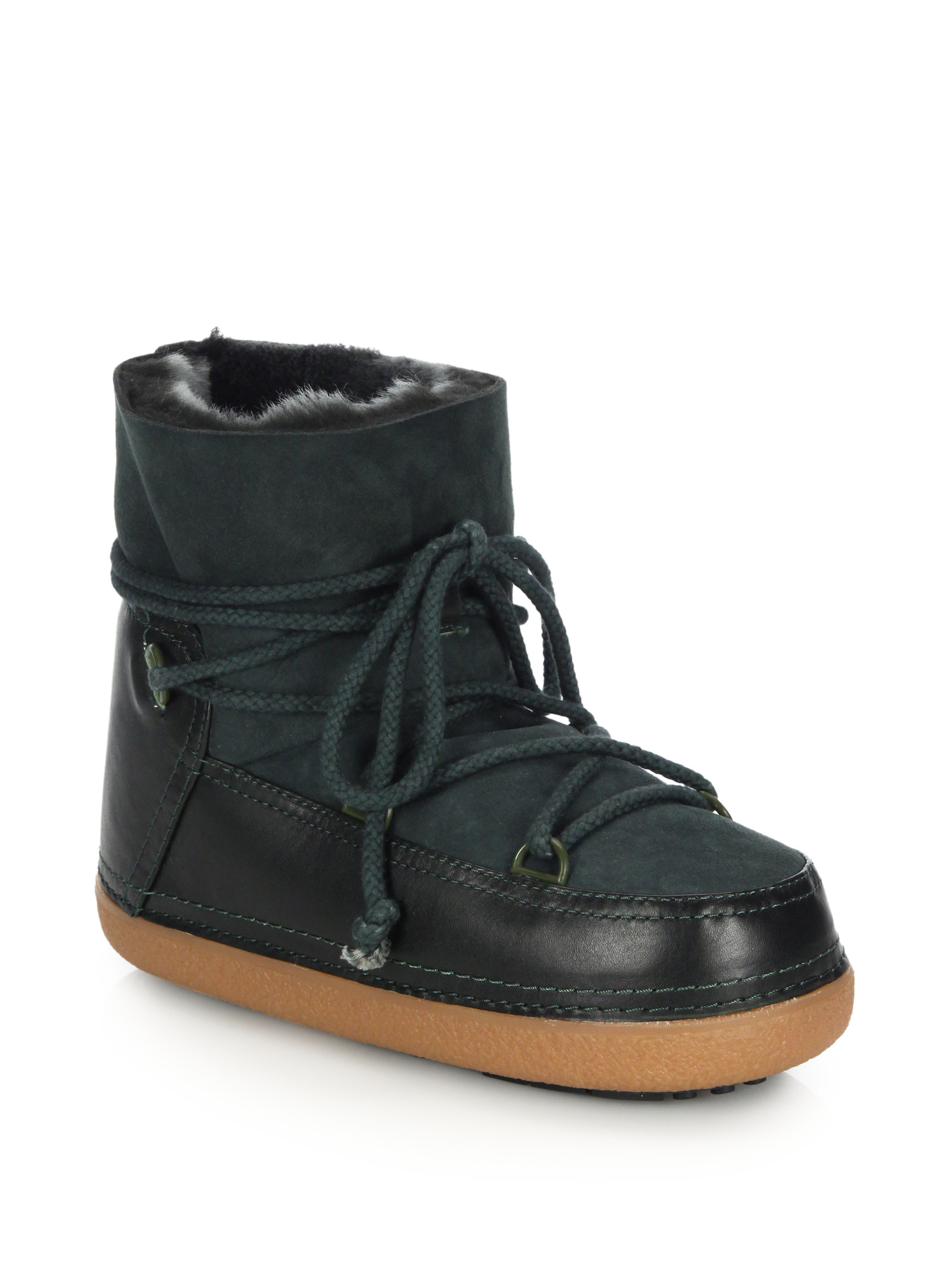 ikkii green suede and leather moon boots lyst