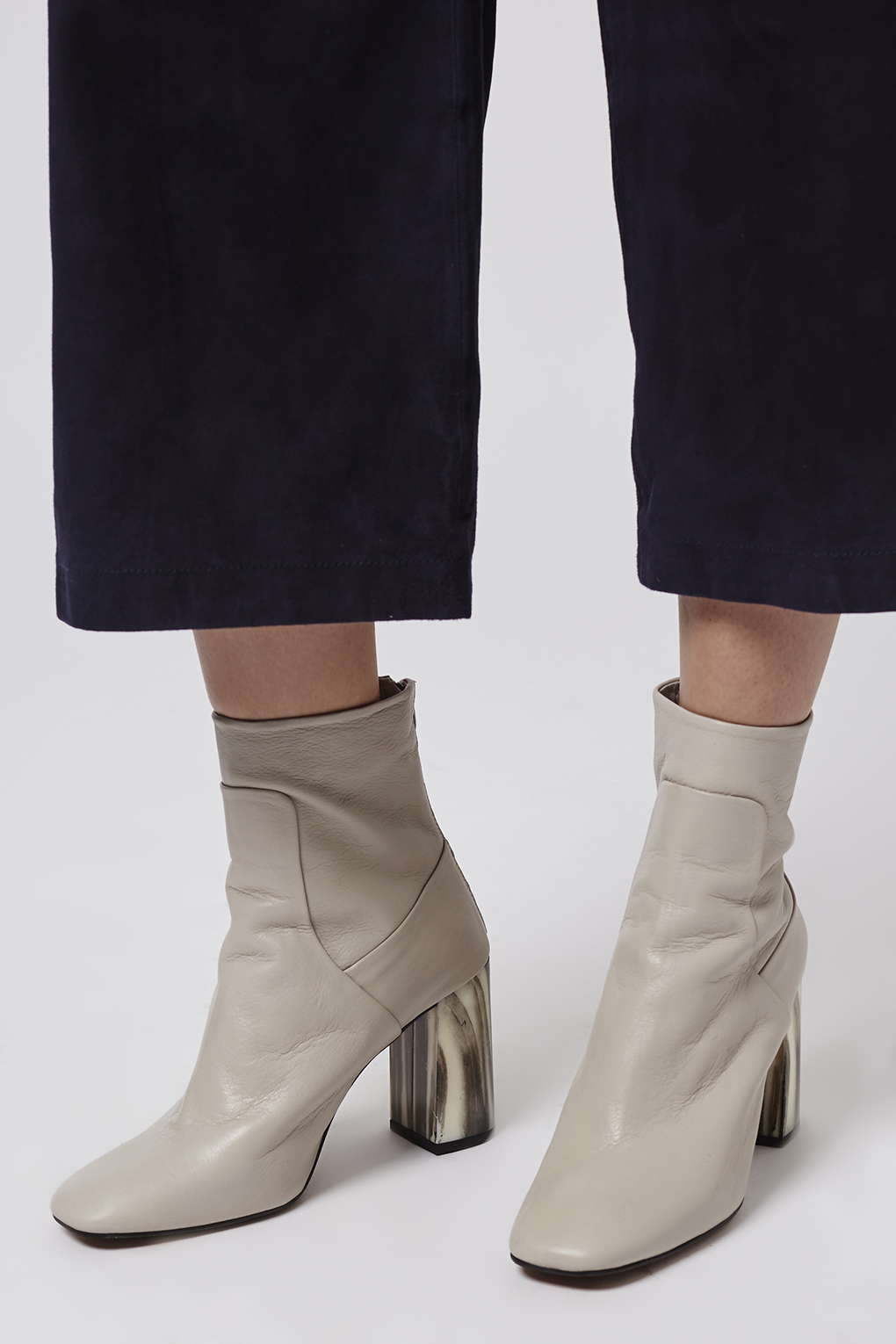 topshop muse bone heel boots in gray lyst